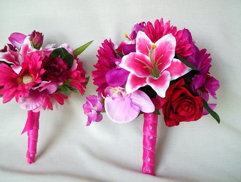 Hot Pink Brides Maid Lilly Bouquet silk Wedding Flowers