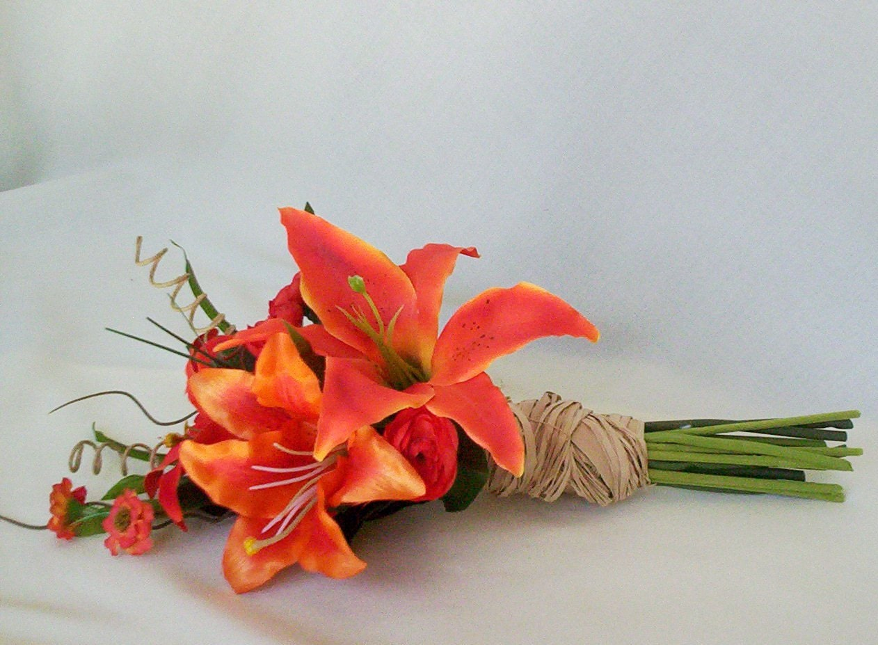 Destination Wedding Flowers Orange Tiger Lily Bridal Bouquet