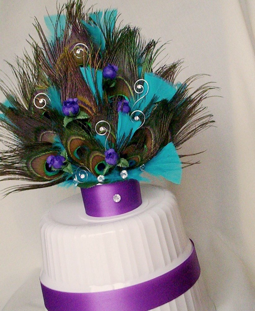 Peacock Feather Wedding Cake: Peacock Wedding Cake Top PurpleTurquoise AmoreBride By