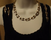 Vintage Necklace Bikers Heavy Metal Bracelet and Earrings for Young Women in Silver Tone.