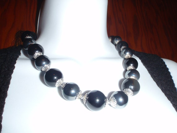 Vintage Black Necklace with Large Marble Size Balls and silver in between  Beautiful for Young women