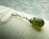 Split Pea Soup - green garnet necklace / green necklace / gemstone necklace / bridesmaid necklace / dark green necklace / january necklace