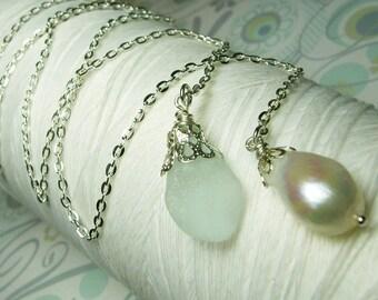 HALF PRICE Lasso A Seahorse - white seaglass necklace / lariat necklace / seaglass necklace / pearl necklace /white pearl necklace