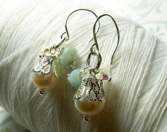 Triple Gem - amazonite crystal pearl earrings / charm earrings / white pearl earrings / aqua earrings / pearl earrings / bridal jewelry