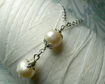 Partners Forever -  two pearl necklace / white pearl necklace / bridal jewelry / pearl necklace / drop pearl necklace