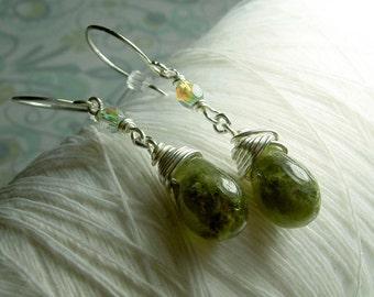 Split Pea Soup - green garnet earrings / green stone earrings / dangle earrings / green drop earrings / sterling silver / garnet earrings