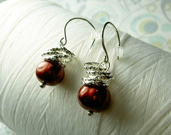 Jump In the Water is Fine - red pearl earrings / red pearls / pearl earrings / pearl jewelry / red earrings / bridal jewelry