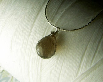 A Single Promise - genuine smokey quartz teardrop gemstone sterling silver necklace