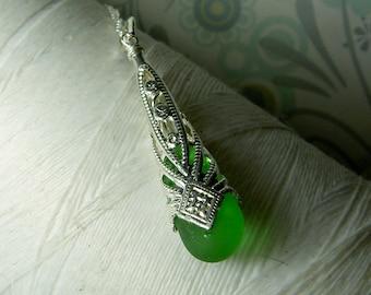 Imperial Cones - green seaglass necklace / green glass necklace / victorian necklace / bridesmaid necklace /green beach glass /green pendant