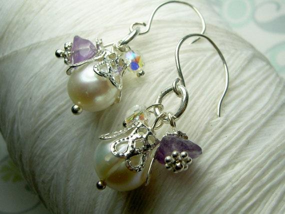 Triple Gem - amethyst earrings / pearl earrings / charm earrings / drop pearl earrings / purple earrings / bridal jewelry / amethyst jewlery