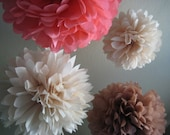 Girl Baby Shower - 5 Tissue Pom Poms Flower DIY Decor Kit - Frilly Paper Flowers - Portlandia