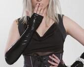 Fingerless black opera gloves, sleeves, arm warmers. Size M/L