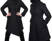 SALE, VEX avant garde wool winter coat with assymetrical hem by Plastik Wrap. L