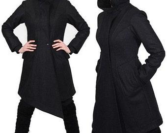 VEX avant garde wool winter coat with asymmetrical details by Plastik Wrap.