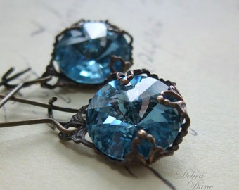 Blue Topaz Earrings, Swarovski Crystal Earrings, Aquamarine Earrings, March Birthstone Jewelry, Birthstone Jewelry