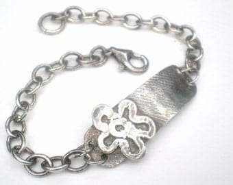 Flower Fine and Sterling ID Bracelet