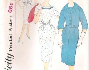 Simplicity 3308 UNCUT 1960s Slenderette Wiggle Dress and Short Jacket  Vintage Sewing Pattern Bust 37 or 39 Half-size