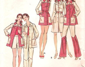 Butterick 6548 1970s Amazing Flared Leg Contrasting Pants Vintage Sewing Pattern Smock Top Micro-Mini Dress Pants and Shorts Bust 36