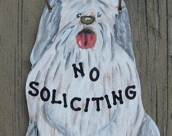 SHEEPDOG No soliciting Sign - Original Hand Painted Wood
