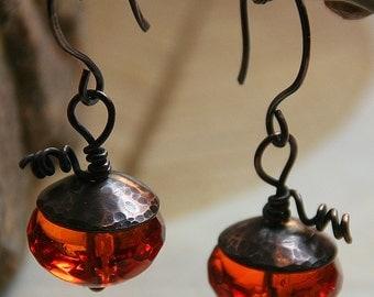 Pumpkin Earrings - Czech Glass with Hammered Copper Bead Caps