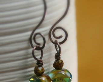 Caramel Skies Czech Glass Beaded Copper Earrings - With Hammered Copper Swirls