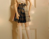 BJD SD Doll White Ruffled Blouse with Pleated Kilt and Socks