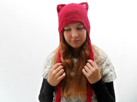 Knitted Kitty Cat Hat - Red Braids