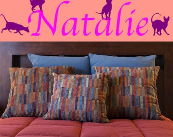 Personalized Name with Cats Vinyl Wall Decal