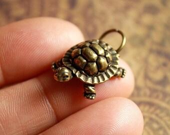 2 pcs MINI Metal TURTLE Charms/Pendants-Antique Brass-Antique Silver-Antique Copper-Animal Charms-Sea turtle charms-Cecil the turtle
