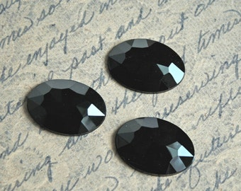 5 pcs Low Dome Multifaceted 25x18mm Oval Jet Black Acrylic Cabochons/Gemstones-Black Acrylic Rhinestones-Black faceted Rhinestones