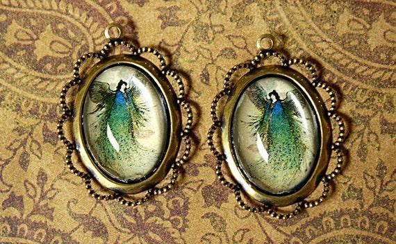 1 pair Green & Blue PEACOCK FAIRY PENDANTS/Charms-peacock Pendant-Fantasy Art-fairy pendant-fae pendant-filigree pendants