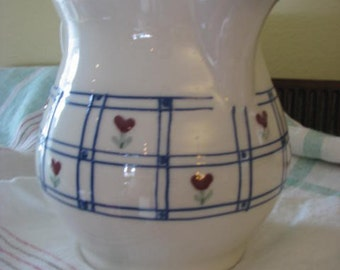 Country Milk Pitcher HARTSTONE Blue Cranberry Hearts 1976 USA Pottery