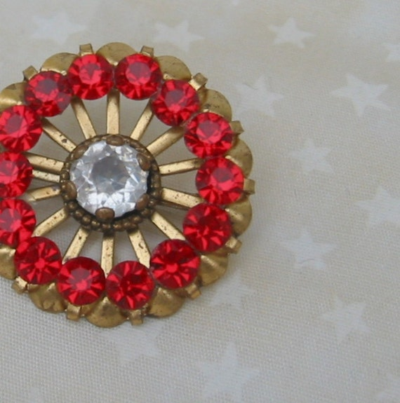 Red Rhinestone Circle Brooch