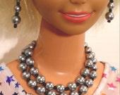 MY SIZE BARBIE jewelry grey with black double strand