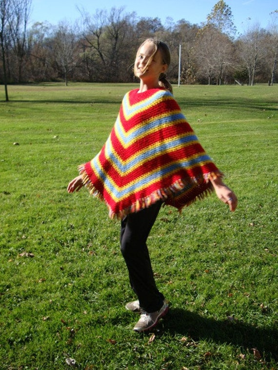 Vintage Girls Poncho with Fringe - Retro 60s 70s Crocheted Cape in Red, Blue, Gold (reserved for Catherine)