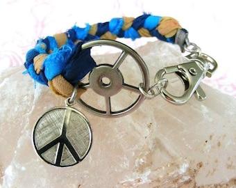 Bracelet, Braided Repurposed Sari Silk Bracelet, Antique Silver and Rhodium Peace Sign Charm, Blue Bracelet, Funky Peace Bracelet, Hippie