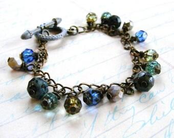 Bracelet, Peridot, Aqua, Blue, Black, Brown and Metallic Mocha Glass Bead Wire Wrapped Brass Bracelet, Earthy Bracelet, Beaded Bracelet