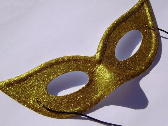 Handmade yellow gold glitter cat eye mask ladies costume