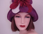 Mardi Gras Funky 1920s Inspired Handcrafted Multi Colored Art Deco Soft Wool Felted Cloche