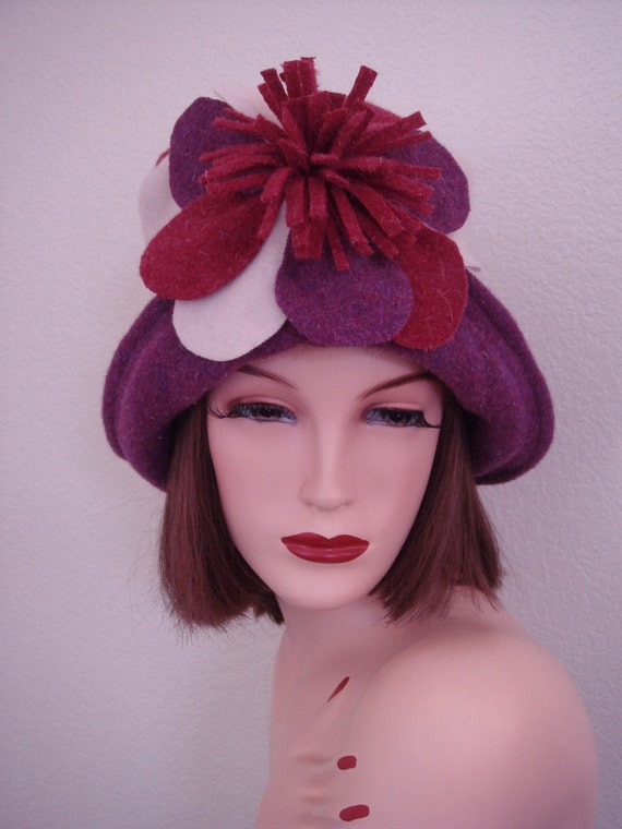 1920s Inspired Handcrafted Multi Colored Art Deco Soft Wool Felted Cloche