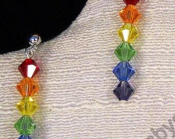 SALE  Post Stacking Swarovski Crystal Rainbow Earrings / Crystal Earrings/ Post earrings / Rainbow Earrings /