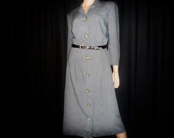"Go GANgSTER - Vintage 50's or 60's - Gun Metal Grey - Gangster - Blue Pinstripe - Shirt - Dress -  40"" bust"