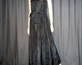 "BOW Then Over - Vintage 1950's - Black - Taffeta and Tulle - Evening -  Gown - Maxi - Dress - with Huge BOW Detail - 35"" bust"