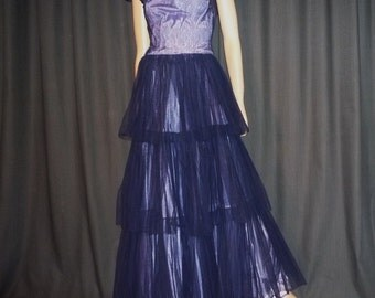 "TULLE-ing Around - Vintage 40's - Blue - Tiered - Tulle - Taffeta - Party - Event - Formal - Maxi - Gown  - Dress - 35"" bust"