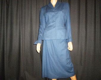 "Vintage 40's - War Time - Wool - Smokey - Grayish -Blue - Structured - Skirt - Blazer - Suit  - Set - 38"" bust"