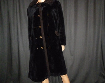 "FUR-Sure - Vintage 50's - Black - Faux FUR Mink - Coat with Faux Lamb Trim - may fit a large or extra large woman - 44"" bust"