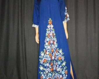 """Vintage 1960's or 1970's - Embellished - Blue - Floral - Embroidered - Boho - Hippie Chic - Cotton - Maxi - Dress - 46"""" bust"""