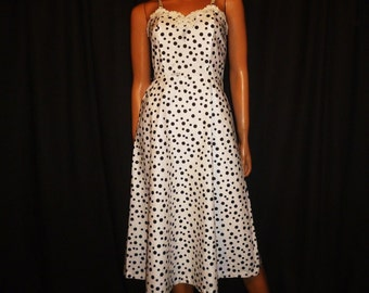 "Connect The DOTs - Vintage 50's - Black - White Polka DOT - Spaghetti Strap - Embellished Crochet - Rhinestone Applique - Dress - 30"" bust"