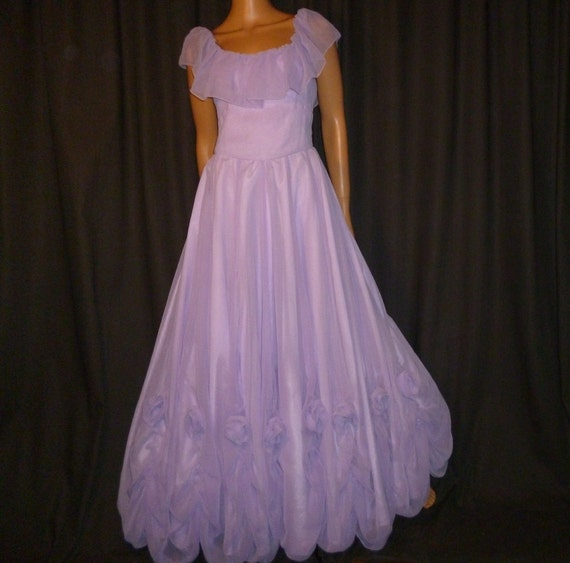 Belle of the Ball GOWN - Vintage 60's/70's - Lavender - Full Circle - Chiffon - Maxi Gown - Bridesmaid - Prom - Dress with Rose Accents