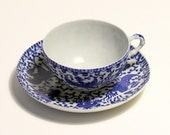 Blue and White China Cup and Saucer Phoenix Bird Made in Japan Transfer Ware